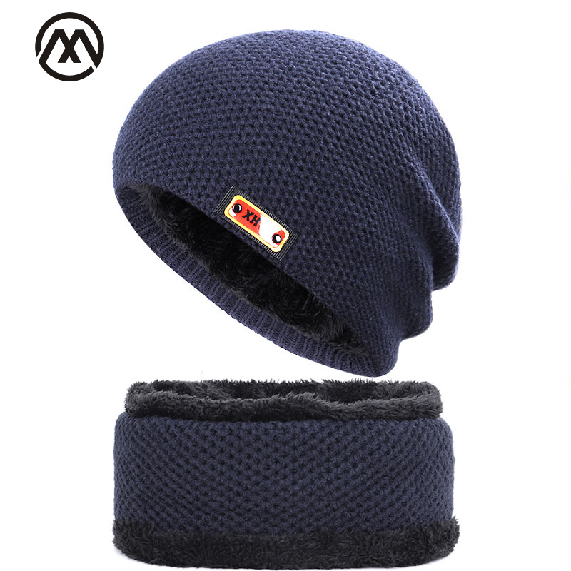 New Men's Skull Cap Outdoor Warm Winter Knit Hat Men And Women Velvet Cotton Cap Thickening Men's Skull Cap High Quality Cotton