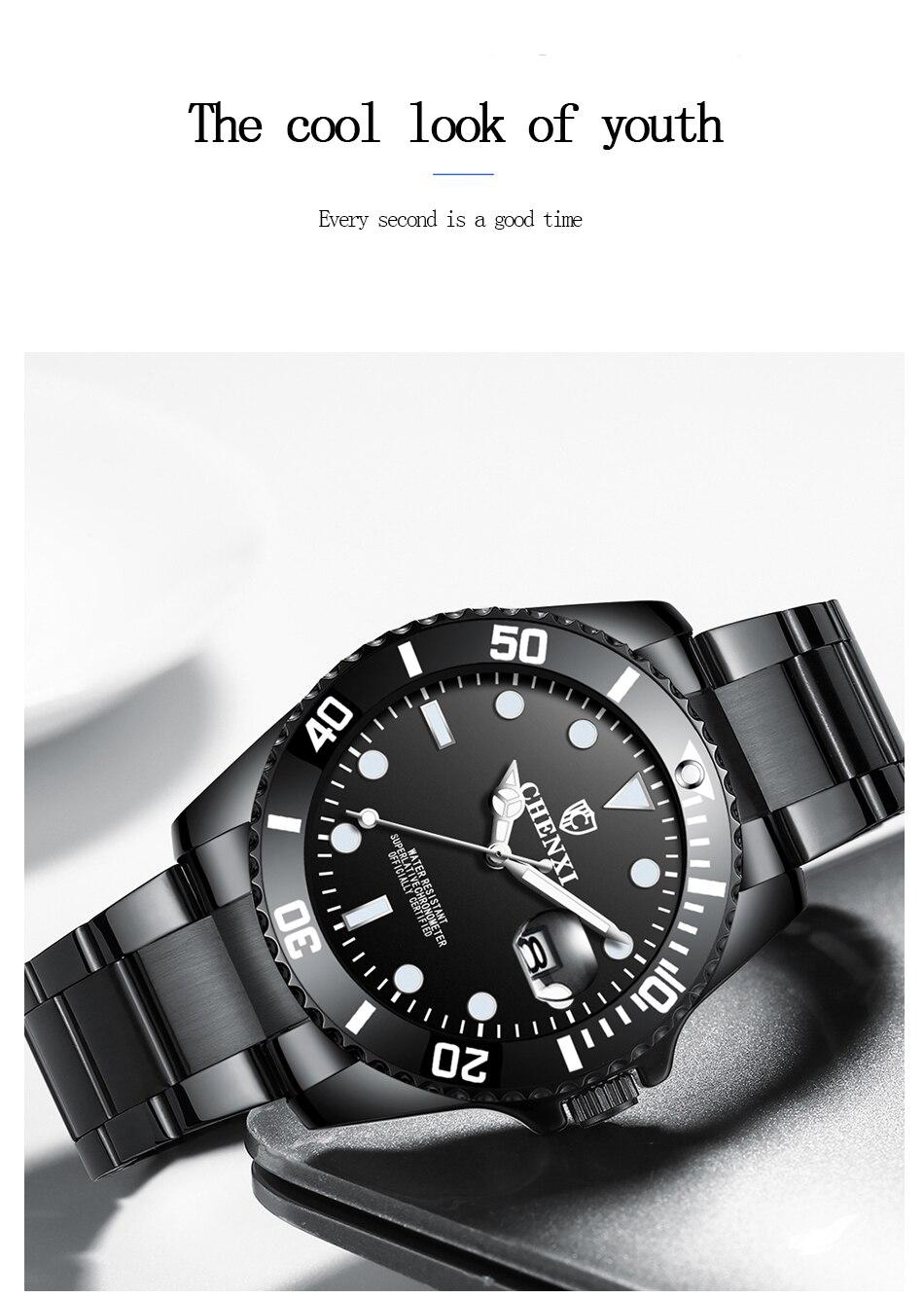à prova dwaterproof água luminosa luxo moda preto relógio quartzo wa184