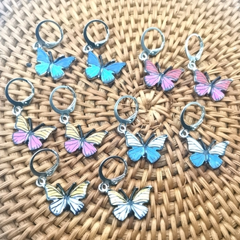 1 Pair of Fashionable Butterfly Pendants Colorful Enamel Butterfly Charm Small Animal Earrings Discover DIY Jewelry Accessories image