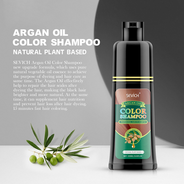 250ml Organic Argan Oil Hair Dye Shampoo Salon Natural 10 Minutes Fast Dye Brown Purple Color Hair Dye Hair Styling Tools