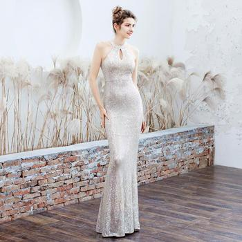 Beauty-Emily Hanging Neck Strapless Evening Dresses Long Mermaid Sleeveless Sequins Formal Prom Gowns Party Dress 2020 Hot Sell