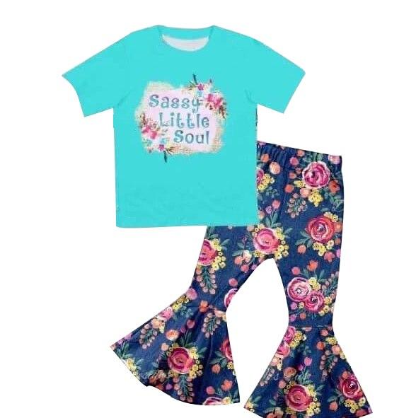 Boutique di Vendita Calda dei bambini Vestiti Camicia A Maniche Corte Floreale Campana Botton Pantaloni Little kid set