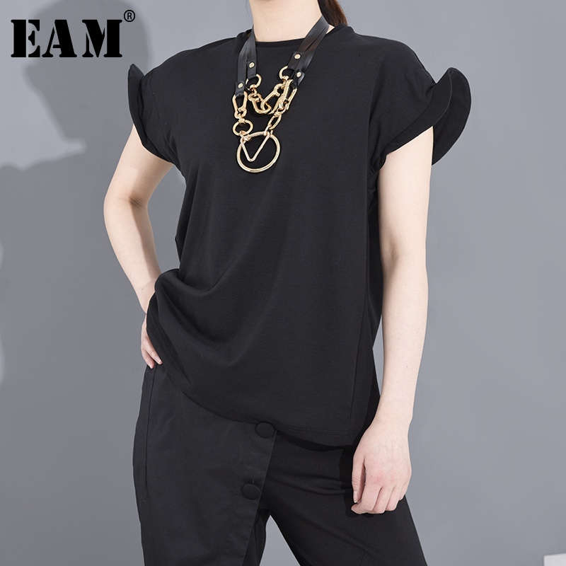 [EAM] Women Black Shaped Split Jooint Big Size T-shirt New Round Neck Short Sleeve Fashion Tide  Spring Summer 2020 1S68301 1