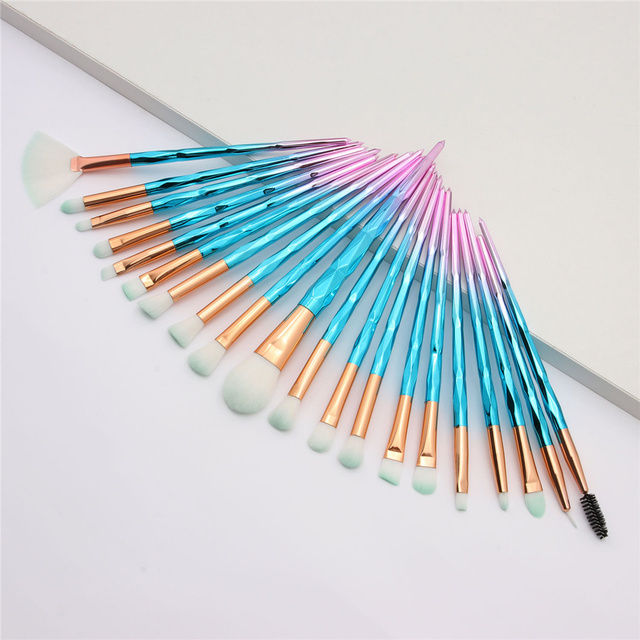 20Pcs Diamond Makeup Brushes Set Beauty Make Up Brush Tool Cosmetic Powder Foundation Blending Eye Shadow Eyebrow Eyelash Brush 3