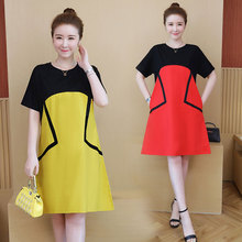Spring and summer new style Loose slim A-line dress Medium long section Large size