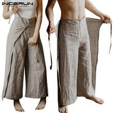 INCERUN – pantalon de pêcheur thaïlandais pour hommes et femmes, ample, Vintage, de couleur unie, Streetwear, à jambes larges, 2021