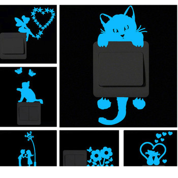 Blue-light Luminous Switch Sticker Cartoon Wall Stickers Glowing Wall Sticker Home Room Decor Cat Dog Car Kiss Stickers Decor image