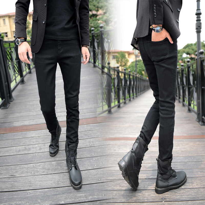 Four Seasons New Style Korean-style MEN'S Jeans Fashion Black And White With Pattern Fashion Skinny Pants Men's Jeans Skinny Pan
