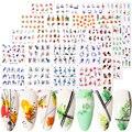 12 видов конструкций простым узором из цветов и зеленых листьев для ногтей Водные Наклейки Harunouta геометрическая форма водяных знаков наклей...