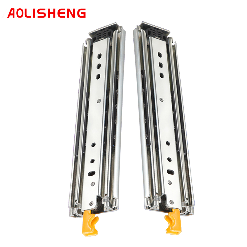 AOLISHENG 76mm 220 kg load Three-Section Fully Extended Drawer Slide Rail,Heavy Duty Drawer Slide Rail with Lock