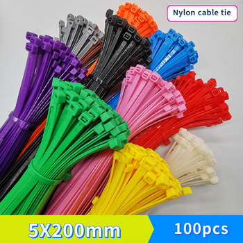 Self-locking plastic nylon cable tie 100 PCS color 5X200 fixed ring 4.8X200 zipper with - sale item Electrical Equipment & Supplies