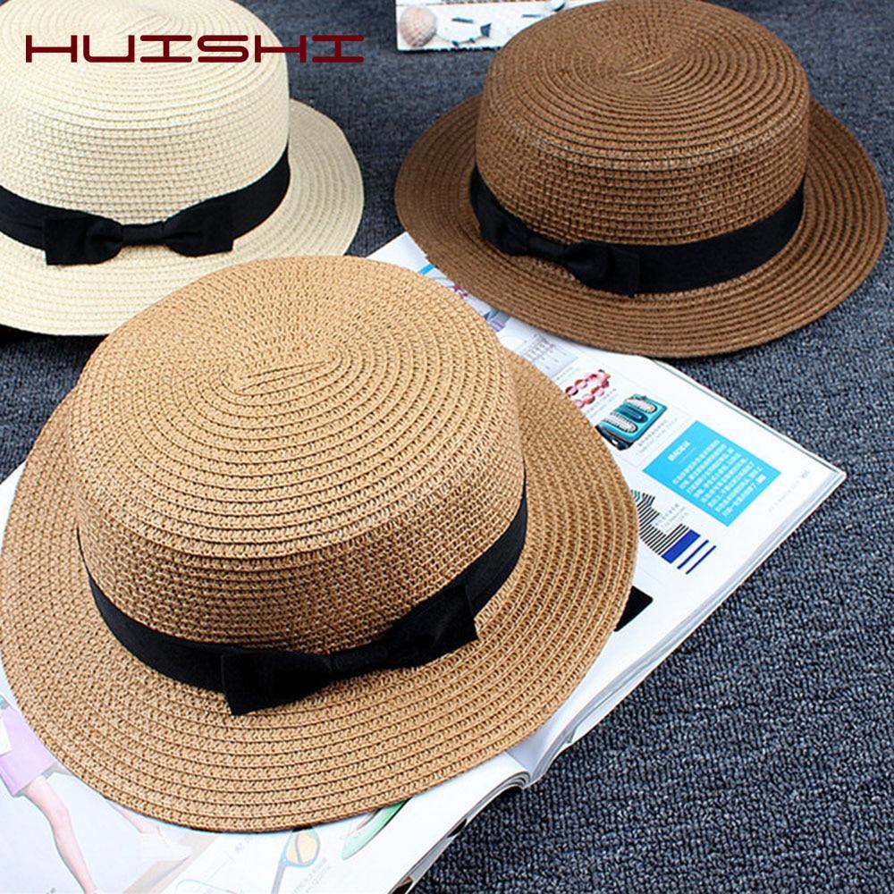 HUISHI Women's Summer Hat Parent-child Sun Straw Hat New Panama Cap Women Girls Sun Bucket Cap Beige Bowknot Bowtie Straw Beach