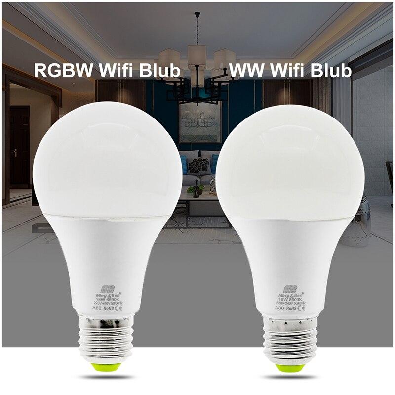 LED Lamp RGB Wifi Bulb 12W E27 AC220V APP Control RGB White Warm White Three Color Adjustment Wake up Smart Lamp Nightlight