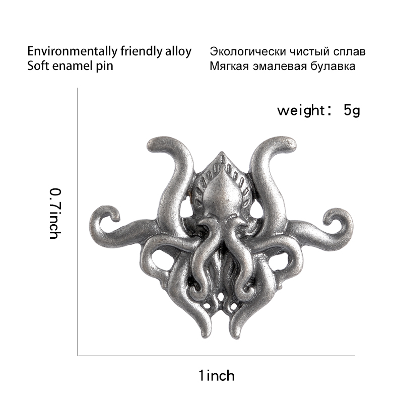 Octopus tentacles Fiction game metal pin H.P. Lovecraft Cthulhu badge brooch Lapel pin Shirt backpack hat jewelry gift for fans 6
