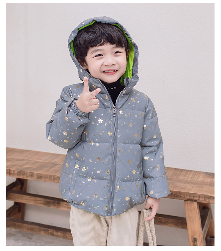 Winter New Fashion Reflective Kids Jackets for Boys Girl Children  Down Thick Hooded Warm Heavy Night Wear Outwear 4