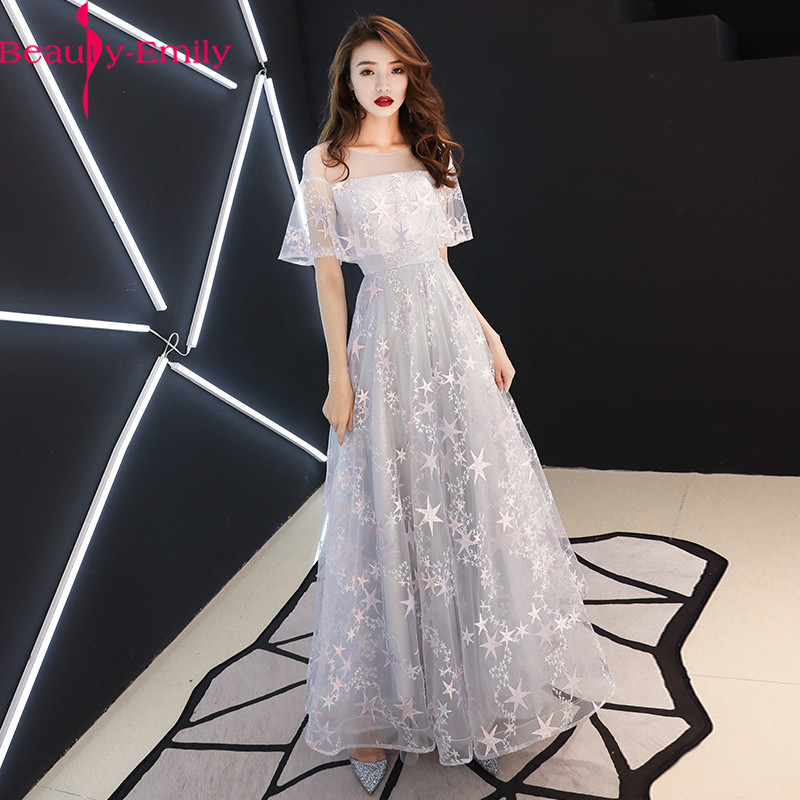Beauty Emily Prom Gowns Gray O-neck A-line Floor Length Embroidery Simple Customized Plus Size Prom Dresses 2020 Graduation