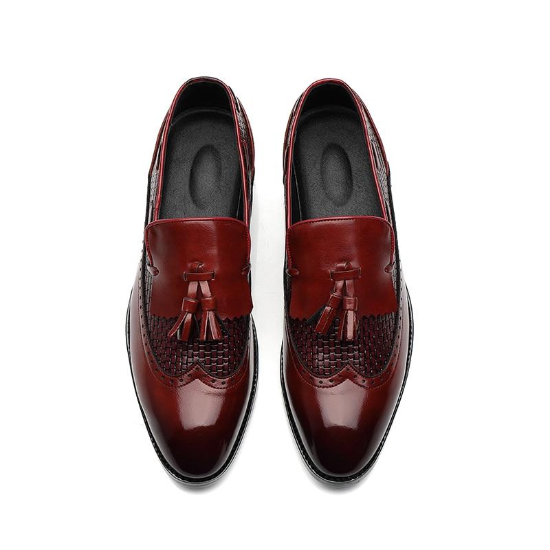New Low-top Men's Shoes Daily Casual Shoes Plaid Fringe Decorates Black Pointed Toe Men's Shoes Fashionable Shoes Banquet Party