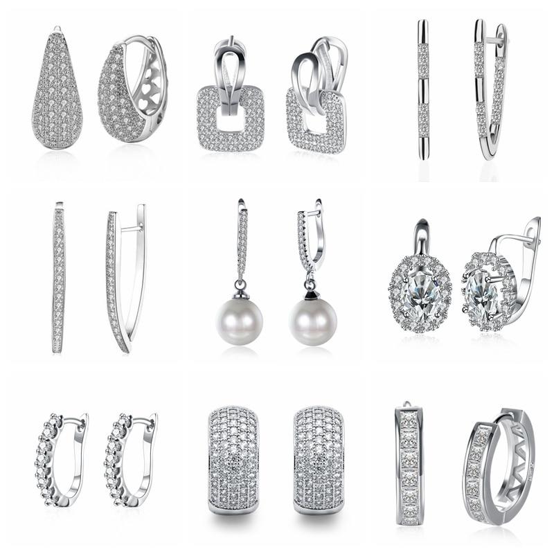 White gold Color White Crystal Earrings AAA Cubic Zirconia Geometric Hoops Earrings for Women