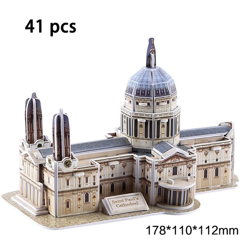 DIY Architecture 3D Cardboard Puzzle Toys Notre Dame de Paris Eiffel tower Vasily Cathedral World Famous Architectural Model Toy 4