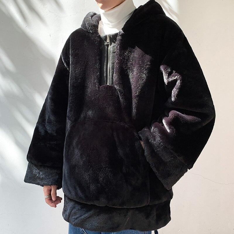 Winter Dikke Hoodie mannen Warme Mode Effen Kleur Pluche Hooded Sweatshirt Man Streetwear Wilde Hip Hop Losse Hoodies Mannen hoody - 2
