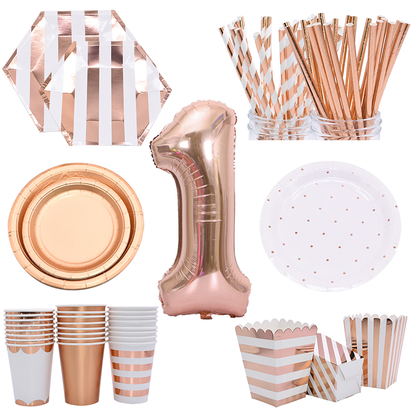 Rose Gold Birthday Party Disposable Tableware Set Paper Cup Plate Straws Supplies For Kid Wedding Party Decor Baby Shower Party