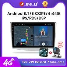 JMCQ Odtwarzacz radio i wideo do samochodów Volkswagen, system android 8.1, 2, rds, modele passat b6, b7, 2010 2015, magotan, cc, dsp, gb ram, 32 gb rom, ekran 10 cali, sieć 4g, multimedia