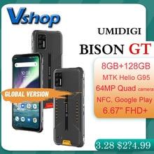"""UMIDIGI BISON GT IP68/IP69K wytrzymały telefon wodoodporny 64MP 8GB 128GB 6.67 """"Android 10 telefon komórkowy globalna wersja NFC OTG Smartphone"""