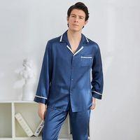 High grade 100% Genuine Silk Men Pajamas Sets Long Sleeved Sleepwear Men's Real Natural Silk Pyjama Male Nightwear Home Clothing