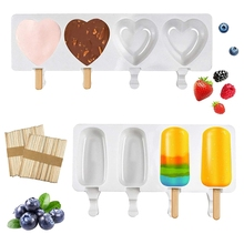 2 Pcs Silicone Popsicle Molds for Cake & Ice Cream,4 Cavities Ice Maker Molds with 100 Wooden Sticks for DIY Ice Cream