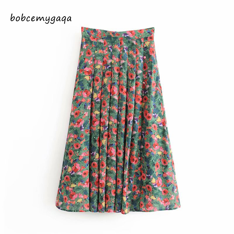 Floral Pleated Skirt Women Casual High Waist Skirt Spring Fashion Floral Work Office Lady Long Skirt Female Faldas