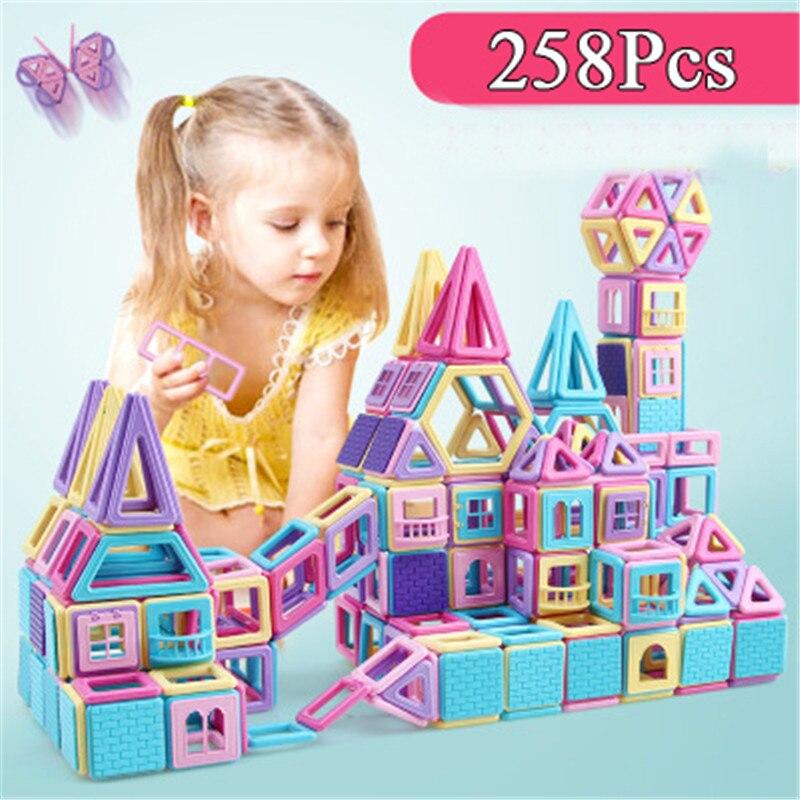 258Pcs Big Size Magnetic Designer Construction Set Model & Building Toy Magnets Magnetic Blocks Educational Toys For Children