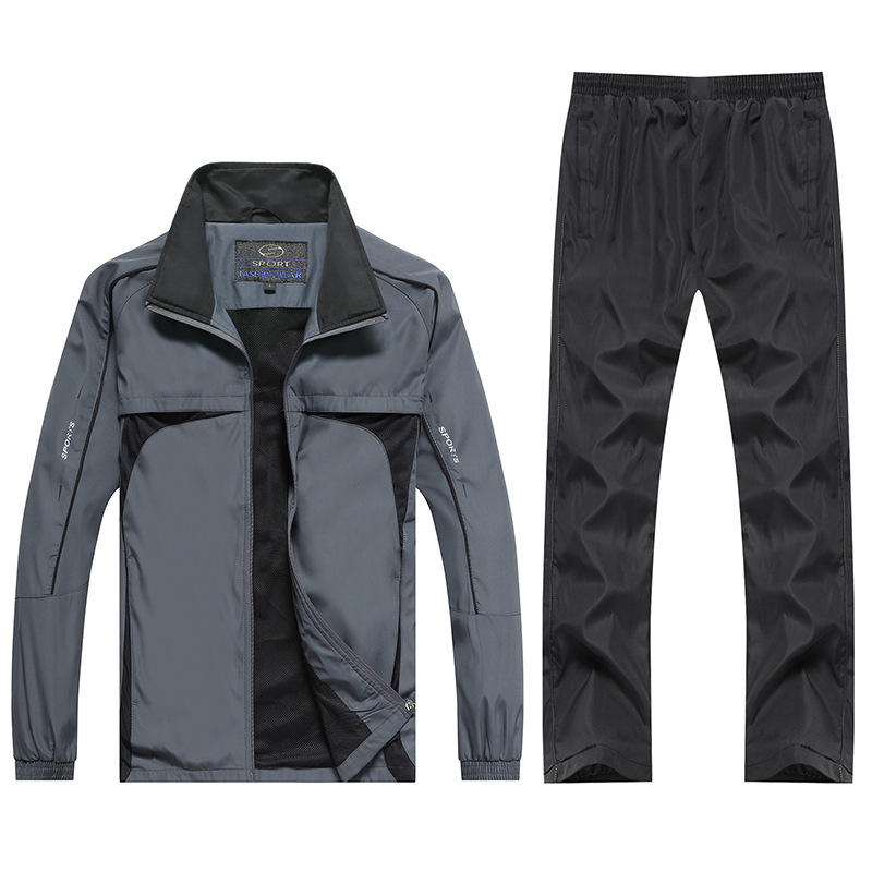 XH47 Middle-aged Sports Set Men's Spring Large Size Casual Middle-aged MEN'S Sportswear Spring And Autumn Two-Piece Set