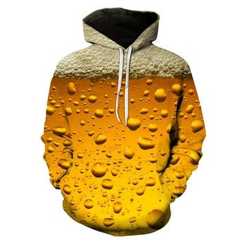 2020 men's fashion 3d beer print hoodie guard clothes hooded sweatshirt yellow autumn long-sleeved pullover s-6XL fashion hoodie men s and women s salomon casual long sleeved hooded pullover autumn and winter brand new sweatshirt