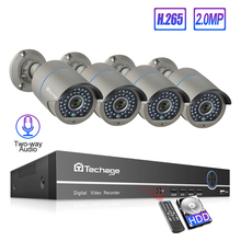 Techage 4CH h.265 48V PoE NVR System 2-Way Audio1080P CCTV Camera 2MP Outdoor Night Vision P2P Home Security Surveillance Kit