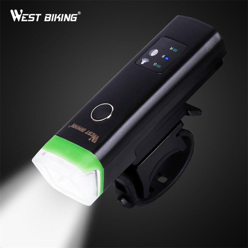 Luz delantera de la bicicleta del oeste de la bicicleta de inducción linterna de carga del USB de la luz brillante de la bicicleta de La Antorcha impermeable del ciclismo