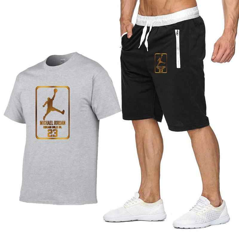 2 Delige Set Mannen Outfits Jordan 23 T-shirt Shorts Zomer Korte Set Trainingspak Mannen Sport Pak Jogging Sweatsuit Basketbal Jersey