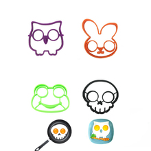 4pcs/set Owl Rabbit Skull Frog Sun Shapes Non-stick Silicone Fried Egg Mold Pancake Rings Cooking Tools Omelette Mould