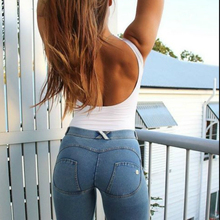 Sexy Women Casual Jeans Skinny Leggings Bodycon Low Waist Denim Leggings Push Up