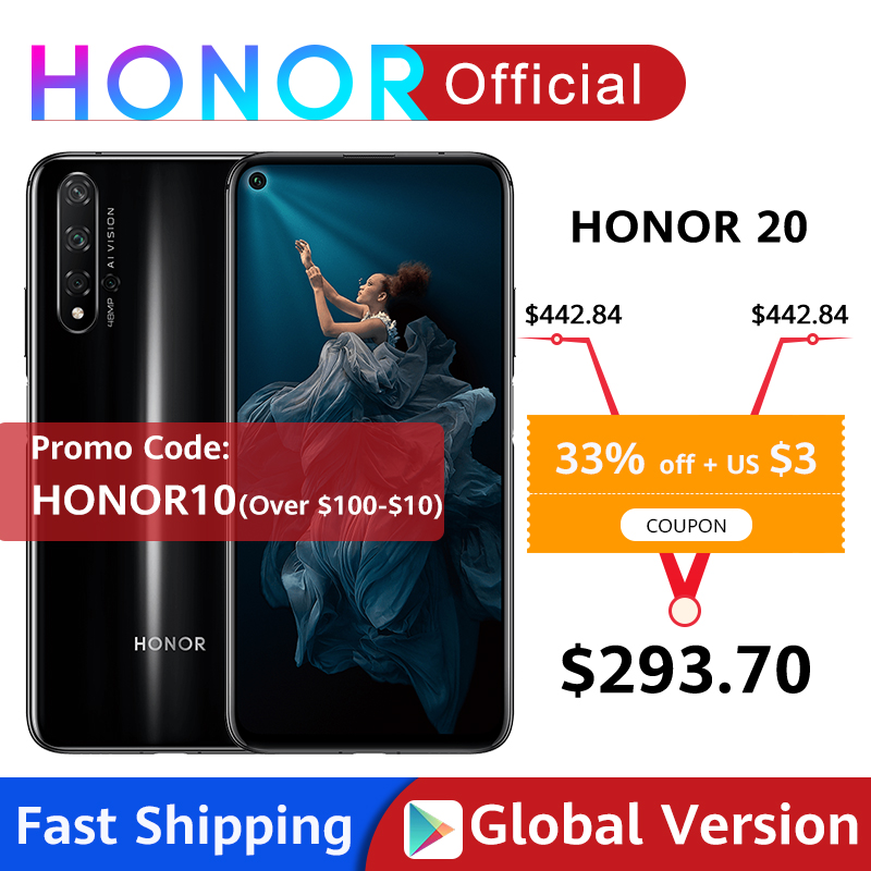 Global Version Honor 20 Smartphone 6G128G Kirin 980 Octa Core 6.26''48MP Four Camera Mobile Phone NFC Google Play SuperCharge