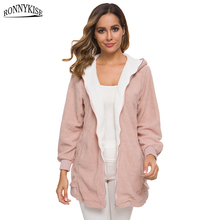 RONNYKISE Autumn and Winter Lamb Cashmere Hoodies Womens Fashion Long Sleeve Hooded Coat Women Sweatshirts