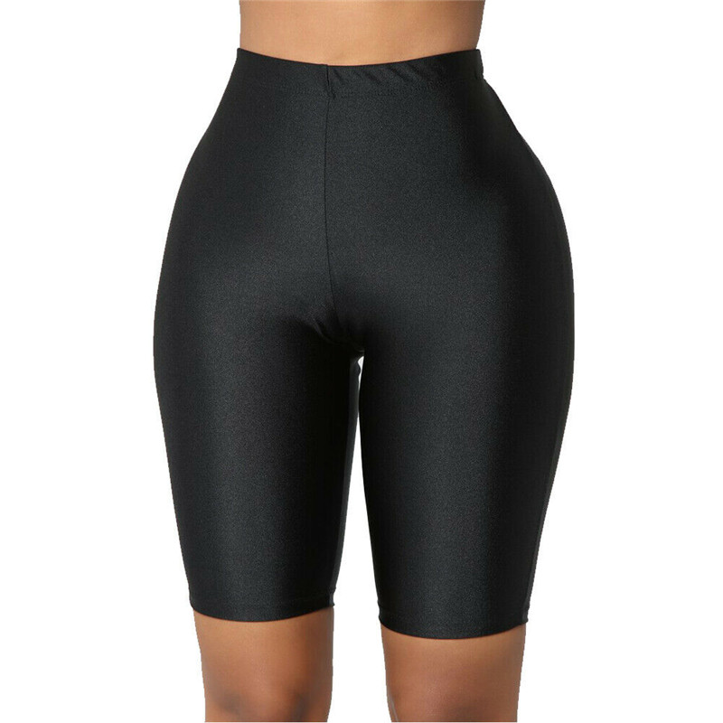 US Women Shorts Skinny Stretch Biker Bike Shorts Workout Solid Spandex Four Colors Leggings Knee Length S -XL