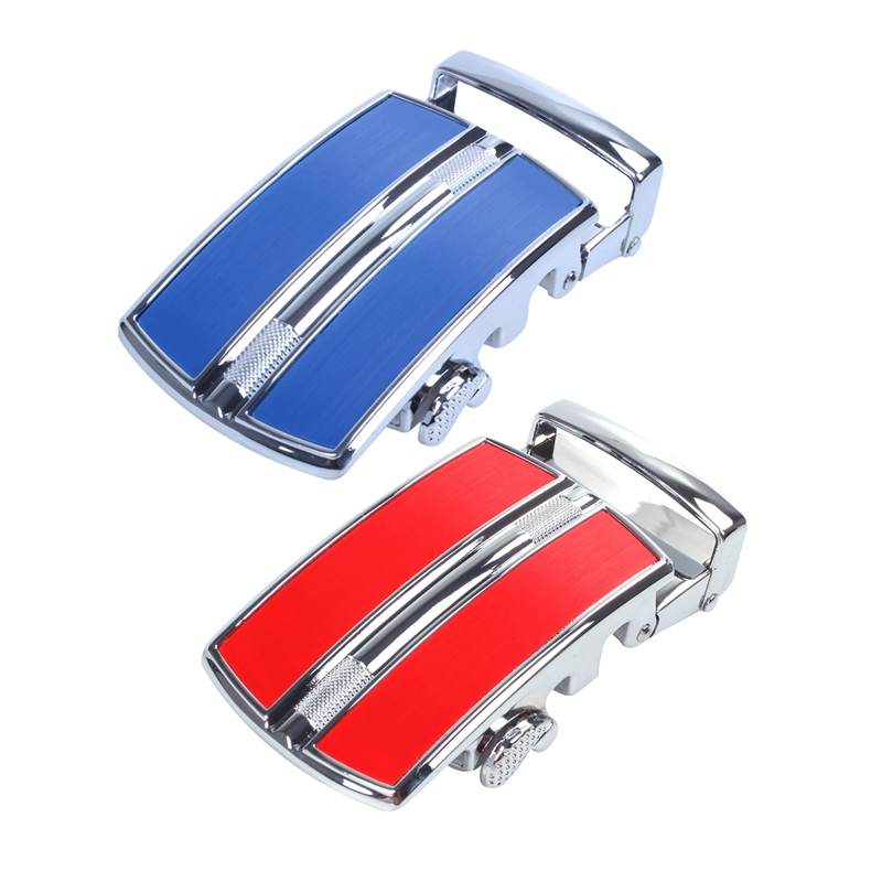 2pcs Solid Buckle Automatic Ratchet Leather Belt Buckle - In The Middle With An Edge Dark Blue + Silver & Red+Silver