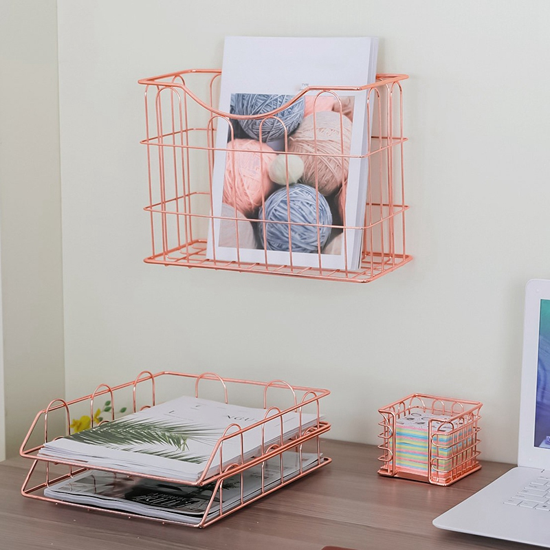 Wire Metal 4 In 1 Desk Organizer Set- Stick Note Holder, Hanging File Organizer And 2 Letter Trays