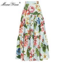MoaaYina Summer Women Rose Floral-Print Elegant skirt