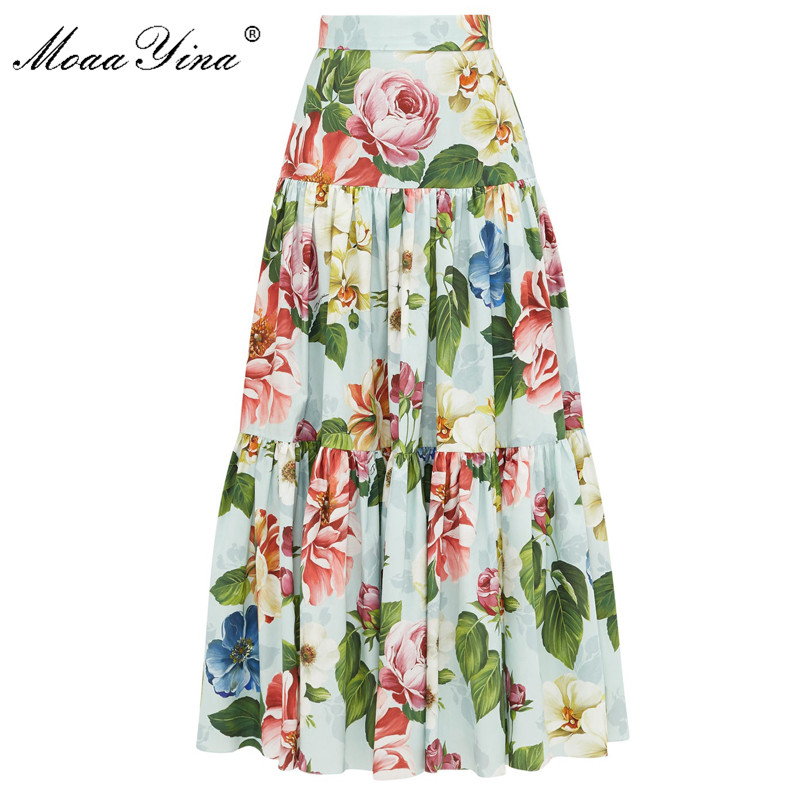 MoaaYina Summer Women Rose Floral-Print Elegant Skirt