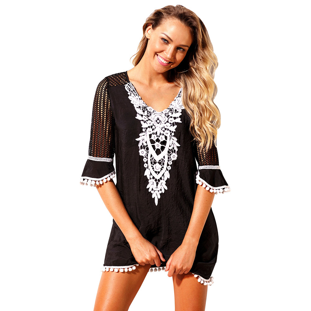 Pa Meng Europe And America New Style Grid Lace Holiday Blouse Half-sleeve Shirt V-neck Large Size Beach Skirt 42231