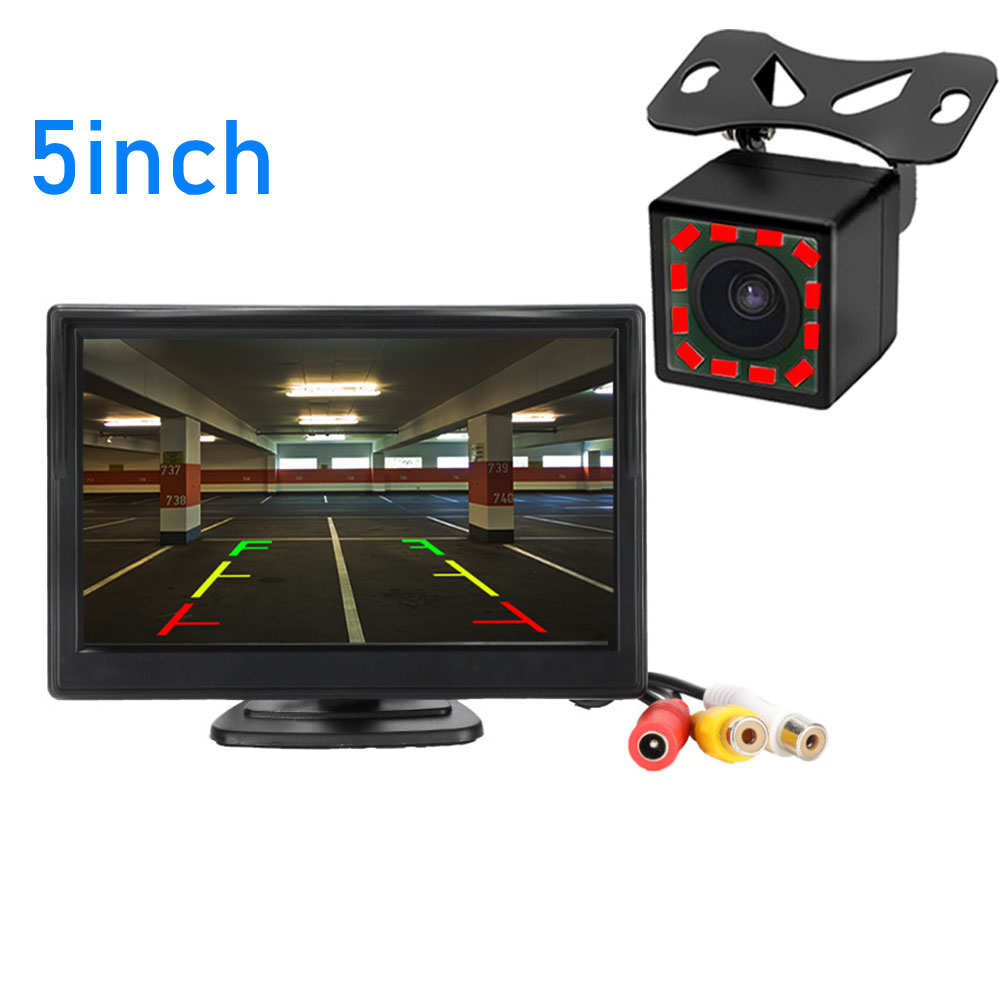 Car Parking Assistance 5 Inch Rear View Monitor + Car Reversing Rearview Backup Camera With Rubber Vacuum Cup Bracket