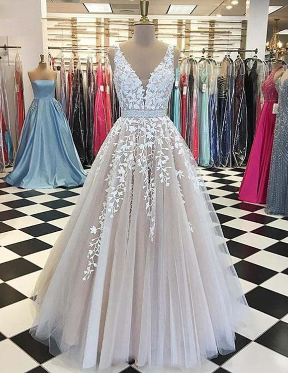 Long Evening Dress Real Sample Sheer Nude V-neck Lace Gorgeous Arabic Style Formal Women Evening Gowns Robe De Soiree