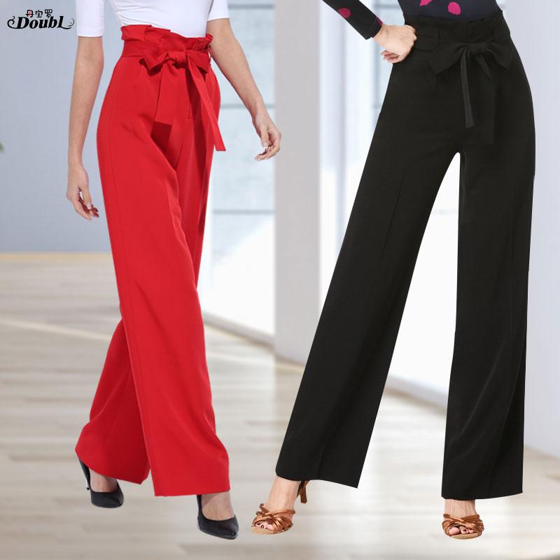 Doubl Brand Adult Women High Waist Dance Pants Ballroom Dancing Pants Red Clothing Costume Summer Spring  Social Workout Samba