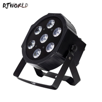 Djworld LED Par 7x18W RGBWA+UV Stage Light Profession DMX512 Effect Lighting Power In/Out For Clubs Home Entertainment Dj Disco